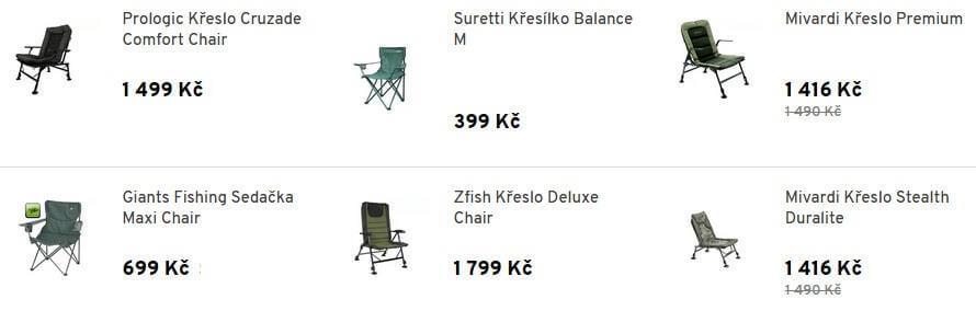křesla-sedačky pro rybolov