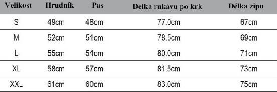 tabulka velikost mikiny PrologicTech Fleece