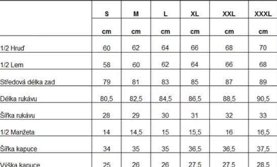 tabulka velikosti kalhot heatlite thermo B&B