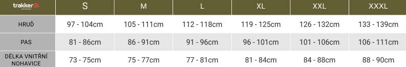 tabulka velikosti mikiny Trakker Cyclone Hoody